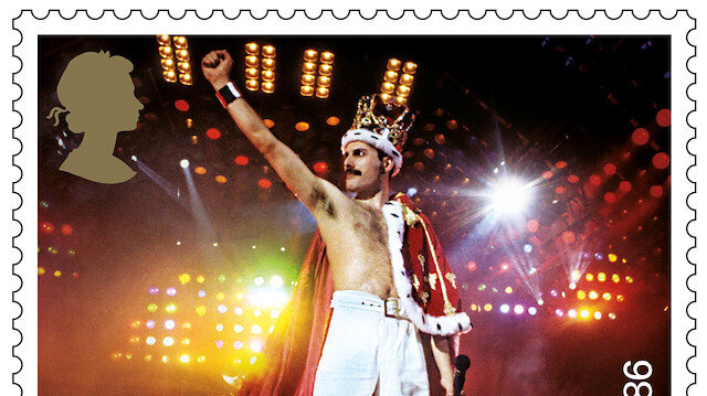 A design for one of a series of stamps issued by Royal Mail as a tribute to the band Queen