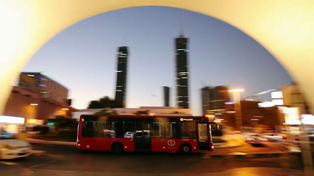 A bus passes the Bab Al-Bahrain (Door of Bahrain) tourist point, following the outbreak of the coronavirus disease (COVID-19), in Manama, Bahrain June 20, 2020. REUTERS/Hamad I Mohammed
