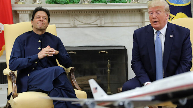 Pakistan's Prime Minister Imran Khan listens while meeting with U.S. President Donald Trump in the Oval Office at the White House in Washington, U.S., July 22, 2019. REUTERS/Jonathan Ernst