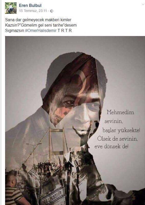 Şehit Eren Bülbül'ün Şehit Ömer Halisdemir hakkında yapmış olduğu paylaşıım.