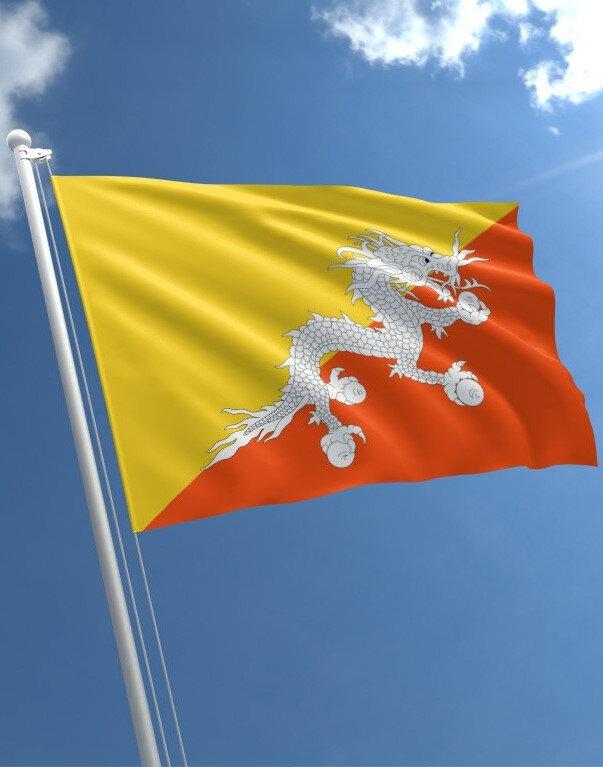 Bhutan bayrağında karizmatik bir ejderha motifi mevcuttur.