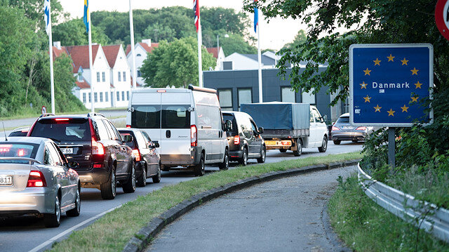 File photo: Cars queue at a border crossing, after Denmark opened its borders to Germany following lockdowns related to the coronavirus disease (COVID-19), in Krusaa, Denmark June 15, 2020