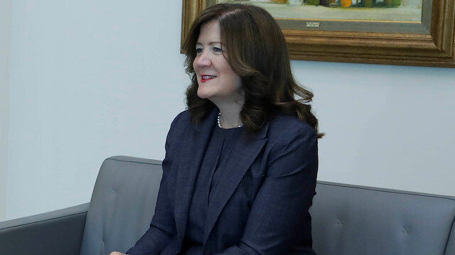 U.S. Ambassador to Lebanon Dorothy Shea at the presidential palace in Baabda, Lebanon June 11, 2020.