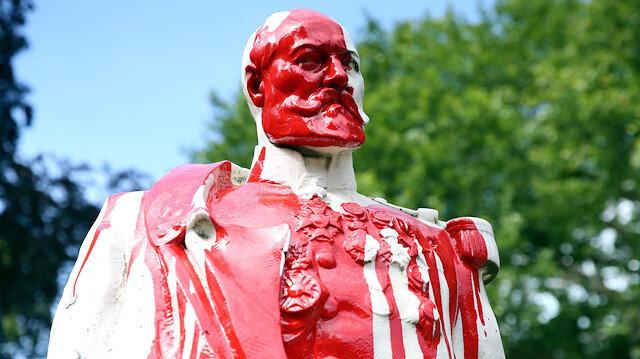 A statue of former Belgian King Leopold II