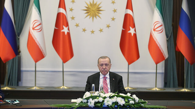 Turkish President Tayyip Erdoğan attends a video conference call, dedicated to the conflict in Syria, with Russia's President Vladimir Putin and Iran's President Hassan Rouhani in Ankara, Turkey, July 1, 2020.