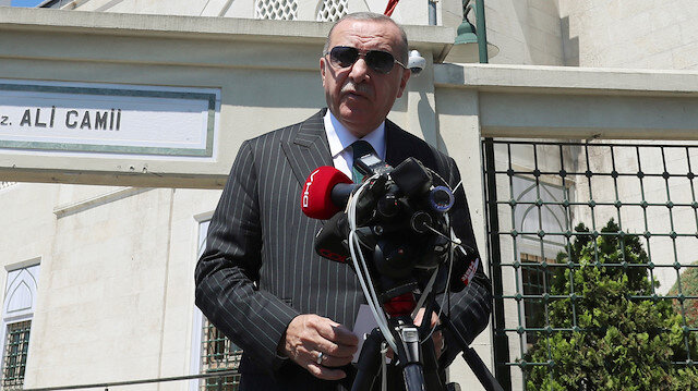 Turkish President Tayyip Erdogan talks to media following the Friday prayers in Istanbul, Turkey, July 3, 2020. Murat Cetinmuhurdar/Turkish Presidential Press Office/Handout via REUTERS