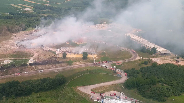 An aerial view of the firework factory following a blast is seen from the helicopter of Turkish Interior Minister Suleyman Soylu, in Hendek in Sakarya province, Turkey, in this screen grab taken from video July 3, 2020