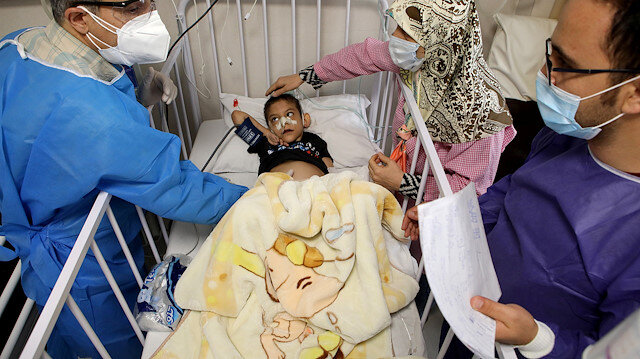 Amirali, a boy suspected to be infected with the coronavirus disease (COVID-19), is treated at Mofid children's hospital, in Tehran, Iran, July 8, 2020. WANA (West Asia News Agency) Abdollah Heidari via REUTERS