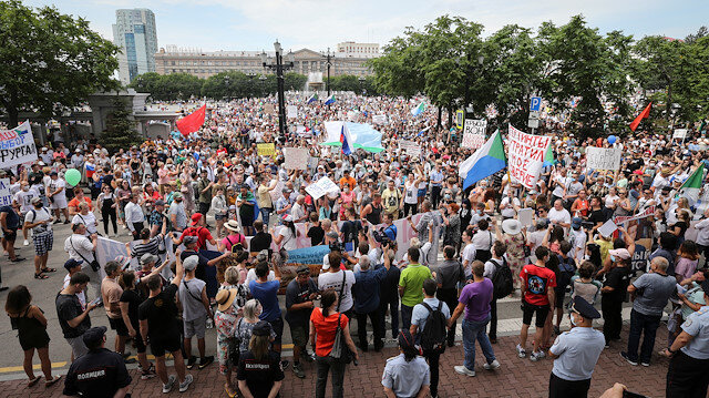 People take part in a rally in support of arrested regional governor Sergei Furgal who is accused of organising the murder of several entrepreneurs 15 years ago, in Khabarovsk, Russia July 25, 2020.