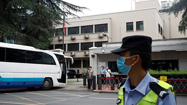A bus enters the U.S. Consulate General in Chengdu, Sichuan province, China, July 25, 2020.