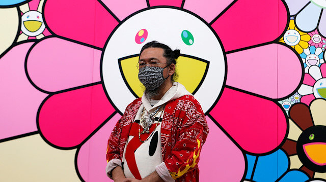 Japanese artist Takashi Murakami wearing a face mask speaks to reporters at a press event ahead of a new exhibition at Mori Art Museum, as the spread of the coronavirus disease (COVID-19) continues, in Tokyo, Japan, July 30, 2020.