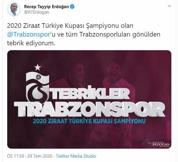 Cumhurbaşkanı Erdoğan'ın paylaşımı