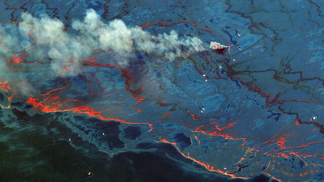 An oil spill in the Gulf of Mexico is seen in this WorldView-2 multi-spectral handout image taken June 10, 2010 and released on December 24, 2019 by Maxar Technologies. Maxar Technologies/Handout via REUTERS. ATTENTION EDITORS - NO RESALES. NO ARCHIVES. THIS IMAGE HAS BEEN SUPPLIED BY A THIRD PARTY. MUST NOT OBSCURE LOGO. MANDATORY CREDIT.