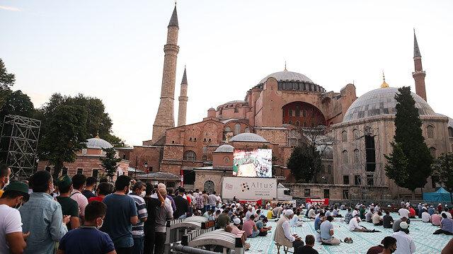 Morning prayer at Hagia Sophia Grand Mosque in Istanbul