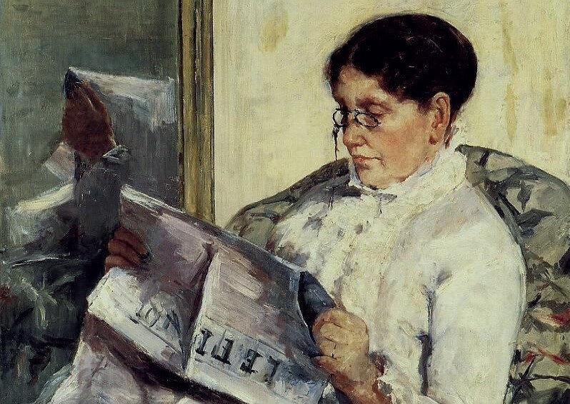 "Reading ""Le Figaro"" (Madam Cassatt 'Le Figaro' Okurken), 1878 Özel Koleksiyon"