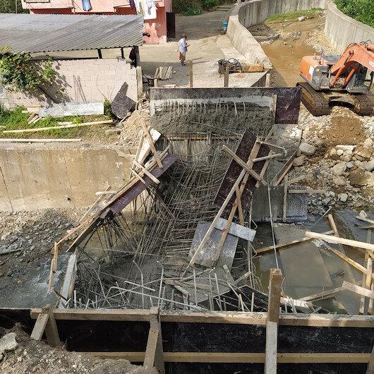 Rize'de inşaat halindeki köprü çöktü: 3 işçi yaralandı