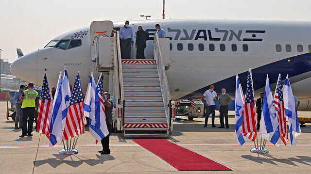 The El Al's airliner, which will carry a U.S.-Israeli delegation to the UAE following a normalisation accord, sits on the tarmac ahead of the first-ever commercial flight from Israel to the UAE at Ben Gurion Airport, near Tel Aviv, Israel August 31, 2020. Menahem Kahana/Pool via REUTERS
