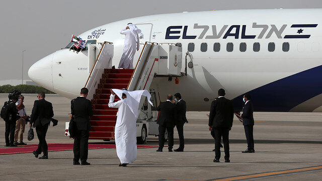 FILE PHOTO: The Israeli flag carrier El Al's airliner carrying Israeli and U.S. delegates is seen after landing at Abu Dhabi International Airport, in Abu Dhabi, United Arab Emirates August 31, 2020.