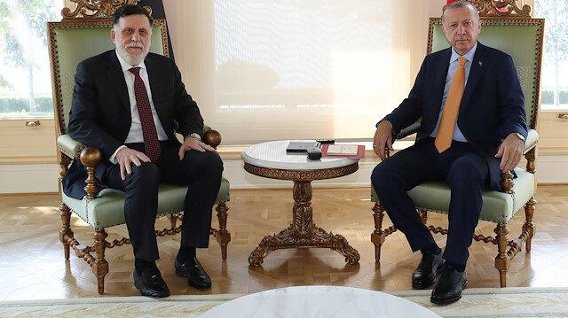 Turkey's President Tayyip Erdogan meets with Libya's internationally recognised Prime Minister Fayez al-Sarraj in Istanbul, Turkey, September 6, 2020. Murat Cetinmuhurdar/