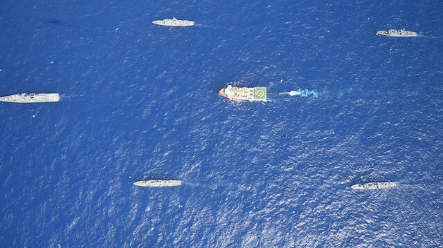 Turkish seismic research vessel Oruc Reis is escorted by Turkish Navy ships
