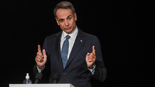 Greek Prime Minister Kyriakos Mitsotakis speaks during the closing news conference of the seventh MED7 Mediterranean countries summit, in Porticcio, on the Mediterranean Island of Corsica, France September 10, 2020. Ludovic Marin/Pool via REUTERS