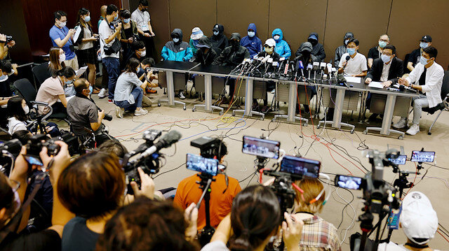 Family members of twelve Hong Kong activists, detained as they reportedly sailed to Taiwan for political asylum, hold a news conference to seek help in Hong Kong, China September 12, 2020. REUTERS/Tyrone Siu