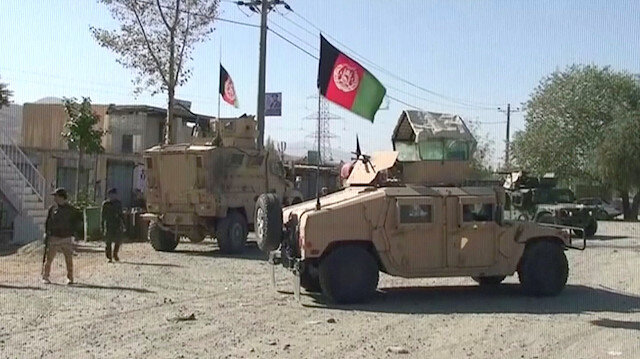File photo: Security Humvees gather near a site attacked by Taliban in Sayeed Abad district, Wardak Province, Afghanistan, in this still image taken from video on October 7, 2018