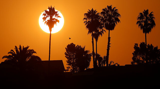 The morning sun rises over a neighborhood as a heatwave continues