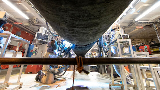 Pipe assembly is pictured aboard the NordStream 2 pipe laying vessel Audacia