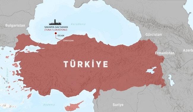 Zonguldak açıklarında Sakarya Havzası denilen bölgede 320 milyar metreküp doğalgaz keşfedildi.
