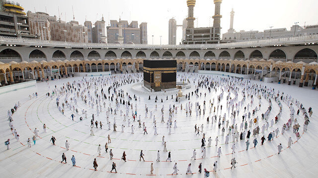 A general view picture shows the Kaaba as Muslim pilgrims keep social distance while performing their final Tawaf, marking the end of Haj pilgrimage amid the coronavirus disease (COVID-19) pandemic, in the holy city of Mecca, Saudi Arabia August 2, 2020.