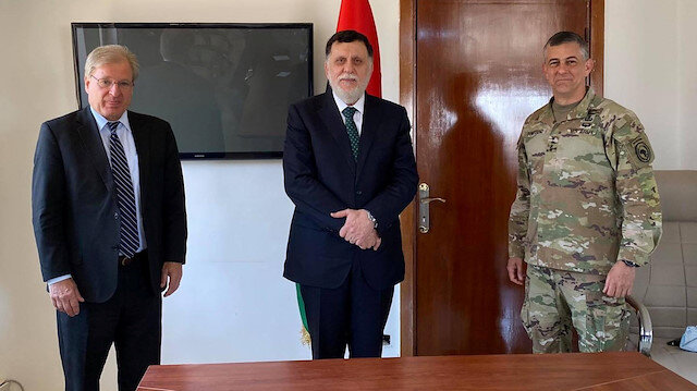 Libya's internationally recognised Prime Minister Fayez al-Serraj meets with the U.S. Ambassador to Libya, Richard Norland and commander of U.S. Africa Command (AFRICOM) Gen. Stephen Townsend, in Zuwara, Libya June 22, 2020.