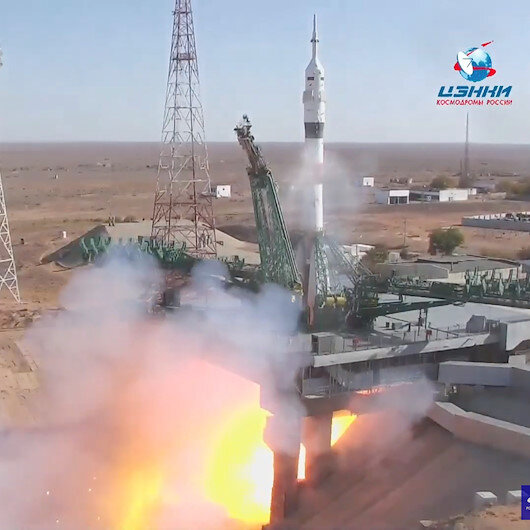 Two Russians, one American blast off to International Space Station