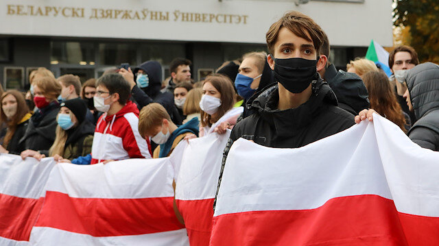 Students attend an opposition rally to reject the Belarusian presidential election results