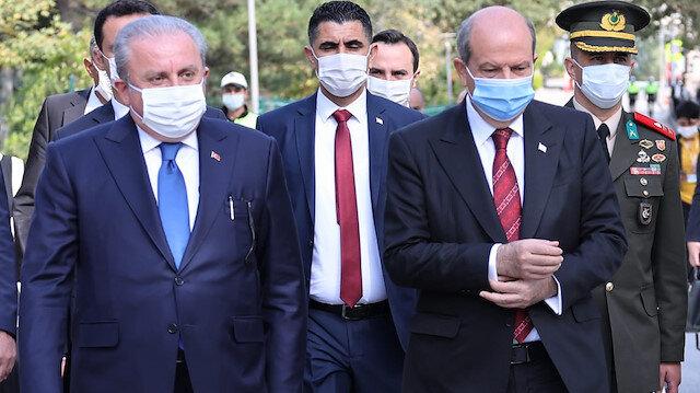 Turkey's parliament speaker Mustafa Sentop and TRNC President Ersin Tatar