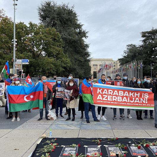 مظاهرة في جنيف ضد هجمات أرمينيا على المدنيين الأذربيجانيين