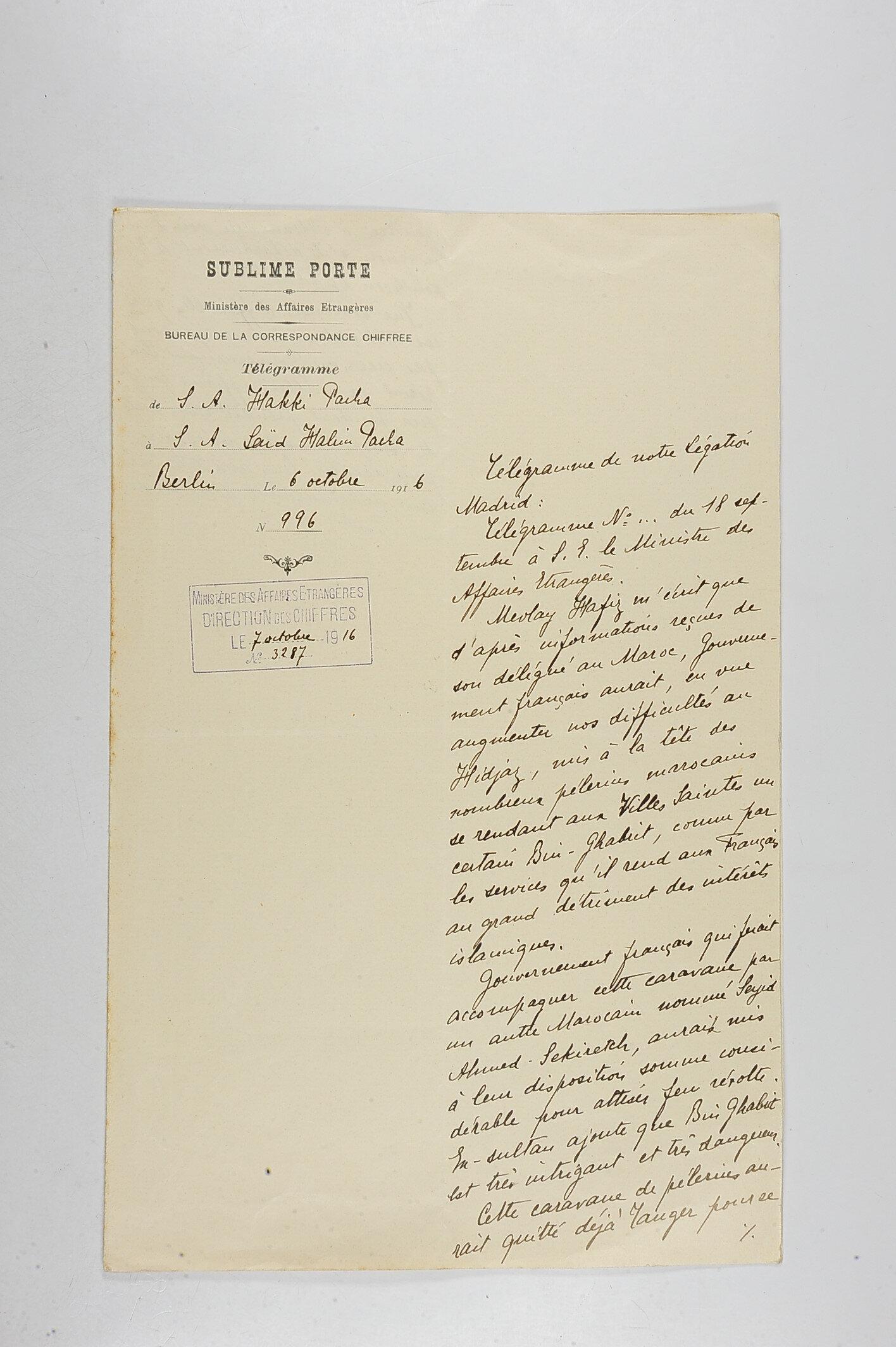 Madrid Sefareti Maslahatgüzarı İbrahim Ziya Bey'den, o dönem Hariciye Nazırlığı ile Sadrazamlığı birlikte yürüten Said Halim Paşa'ya gönderilen rapor.