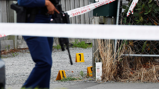 Police guard the site of Friday's shooting undergoing investigation, outside the Linwood Mosque, in Christchurch, New Zealand