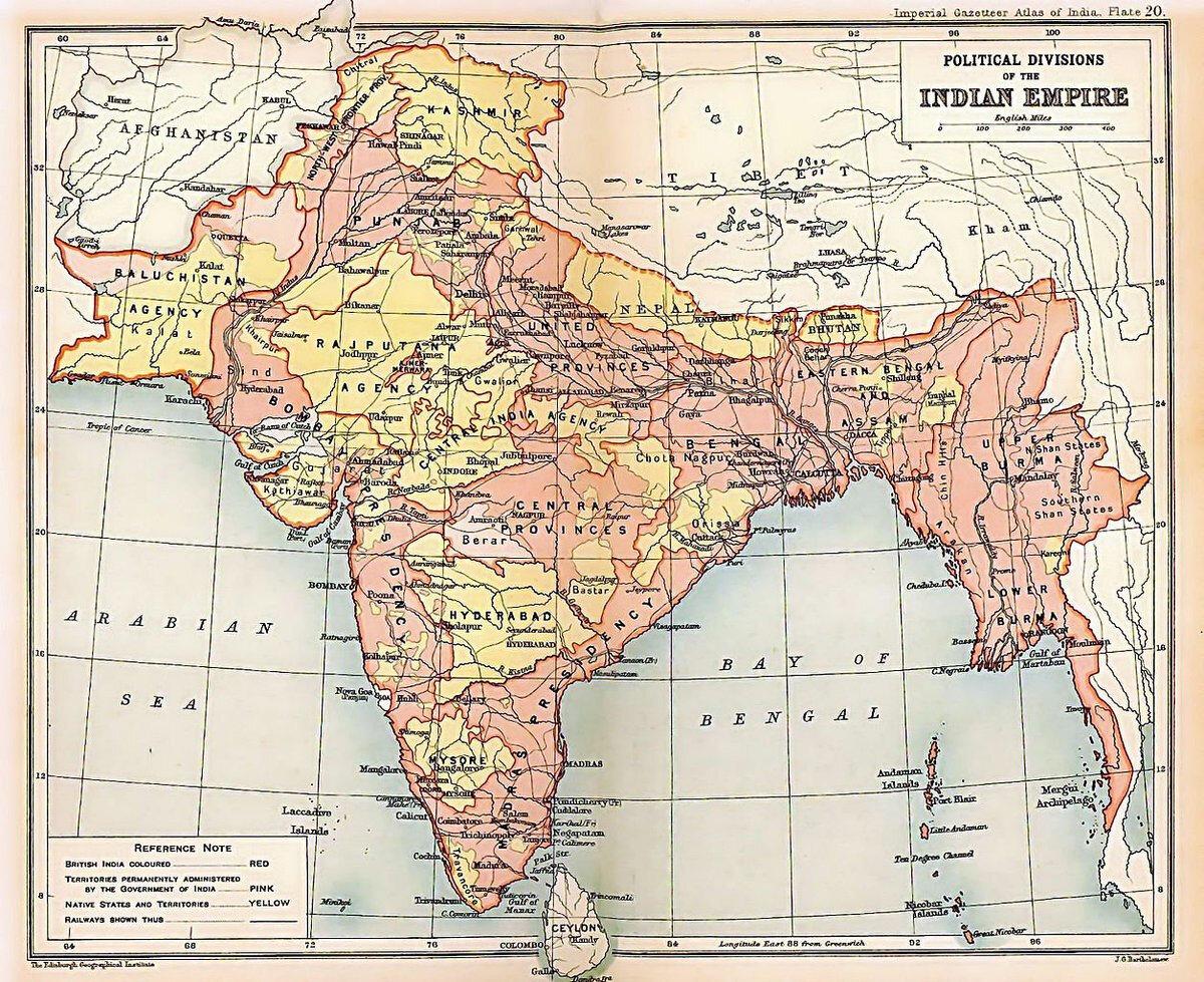 Britanya Hindistanı'nın genel haritası.