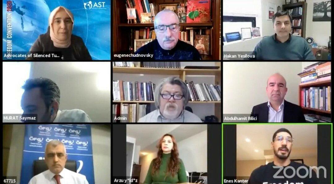 Gergerlioğlu'nun, Enes Kanter, Abdülhamit Bilici ve Arzu Yıldız gibi FETÖ'cü isimlerle yaptığı görüşmenin görüntüsü.