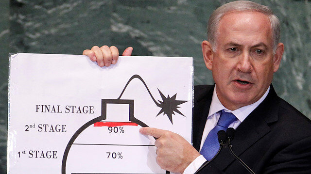 Israel's Prime Minister Benjamin Netanyahu points to a red line