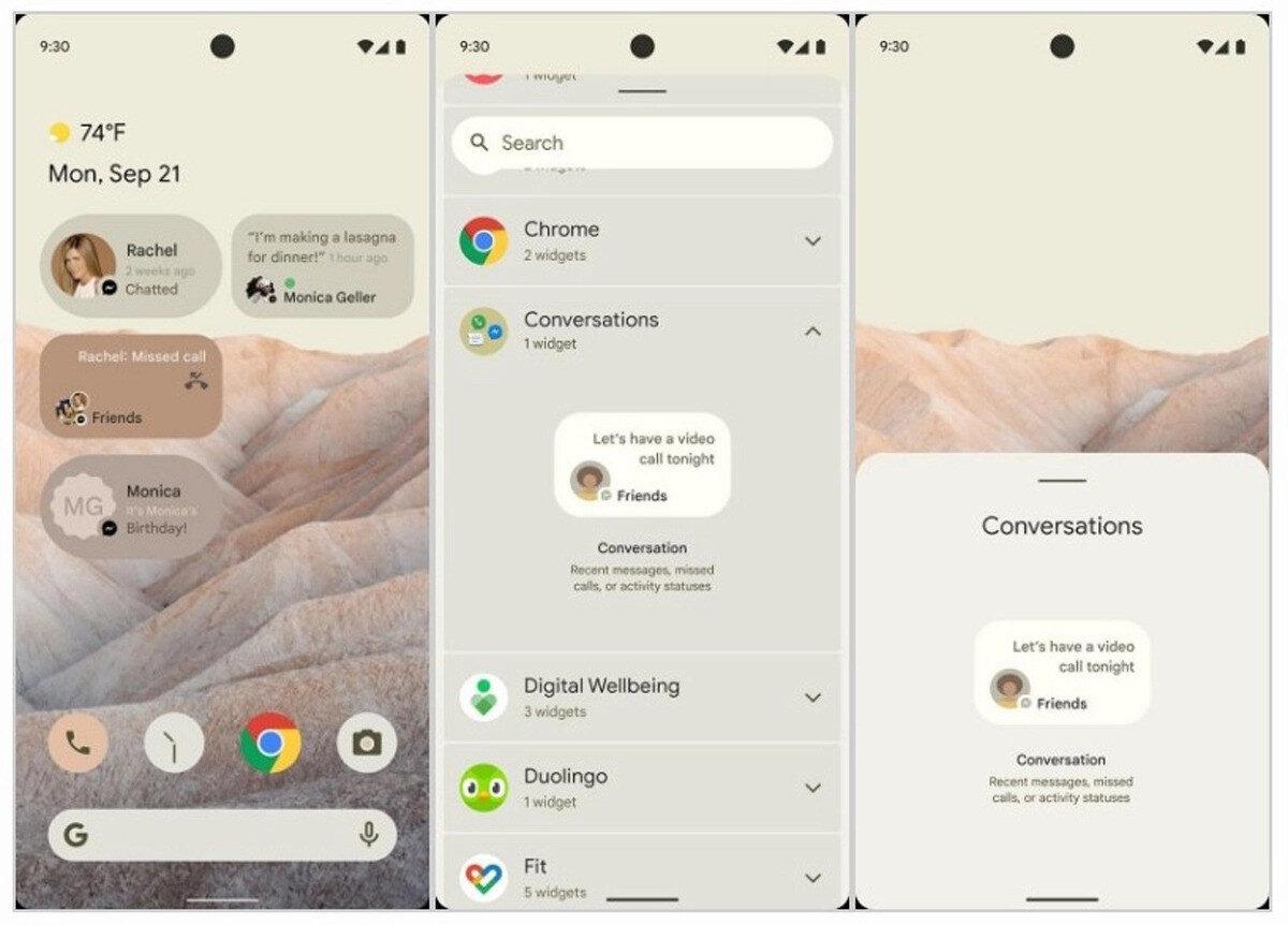 Android 12'nin şu ana kadar paylaşılan ekran görüntüleri, kişiselleştirme seçeneklerindeki yenilikleri gösteriyor.