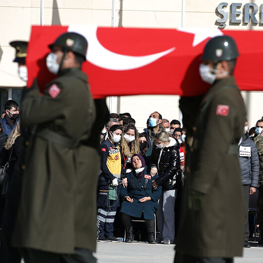 Military funeral held for martyrs from crash in Turkey