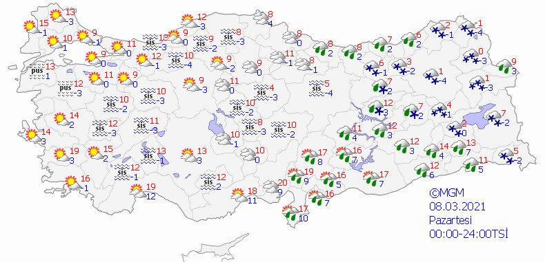 Meteorolojinin bugün için hava durumu tahmin haritası. (8 Mart hava durumu)