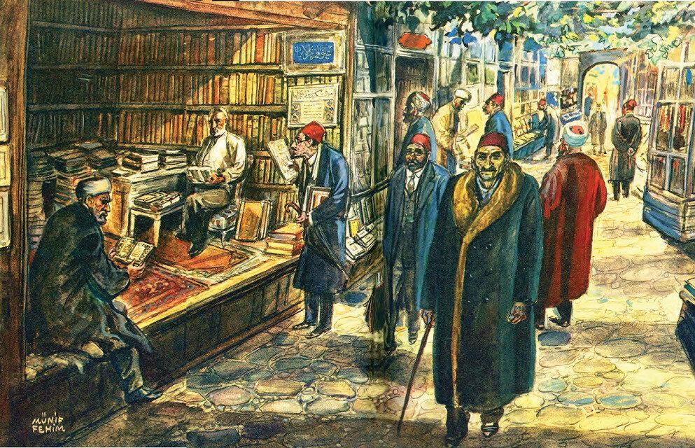 Münif Fehim'in çizimiyle eski Sahaflar Çarşısı