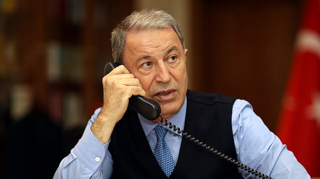 Turkish National Defense Minister Hulusi Akar holds a phone call with United States Secretary of Defense Lloyd James Austin in Ankara, Turkey on April 1, 2021.