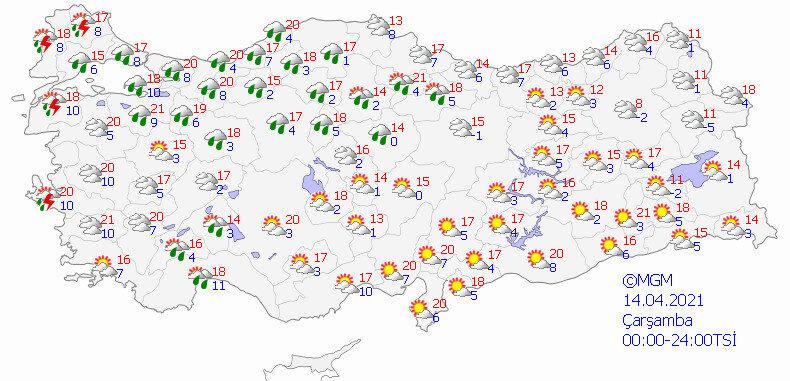 14 Nisan Çarşamba günü için hava durumu tahmin haritası.