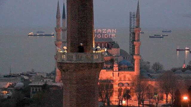 Ayasofya Camii'nde<br>ilk iftar ezanı