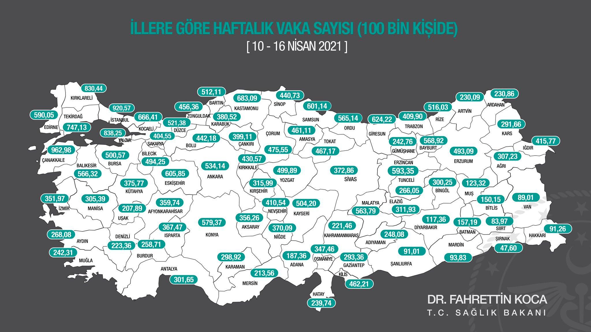 İllere göre 100 bin nüfusa karşılık gelen vaka sayısını gösteren insidans haritası.