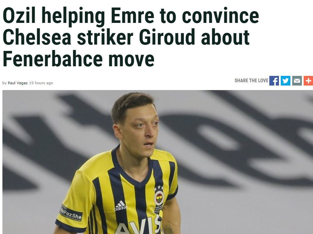 Tribalfootball'da yer alan Mesut Özil ve Giroud haberi